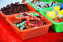 红色绿色珠串手链