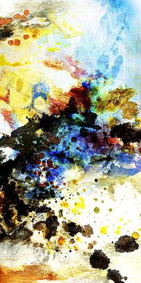 流彩水墨画 端景玄关壁画 抽象油画