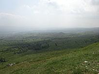 雾蒙蒙的草原风景