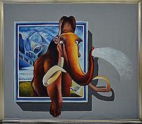 3D喷水大象画