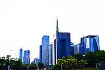 蓝色异形商务楼建筑群