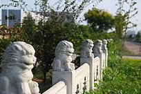 小桥护栏上的大理石狮子