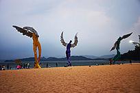 大梅沙海洋沙滩天使人物雕塑作品