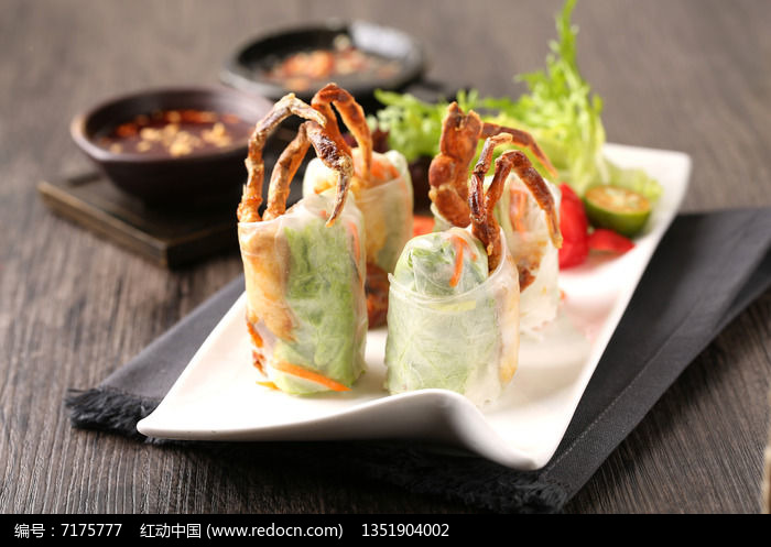 软壳蟹米纸卷图片