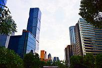 蓝色商务楼房建筑