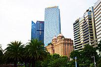 明丽城堡建筑蓝色商务大楼建筑群