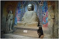 彩绘释迦牟尼佛造像