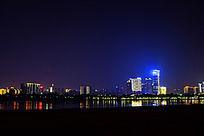 城市高楼夜景湘江高楼倒影摄影图