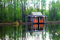 电脑水彩画《湖畔小屋》