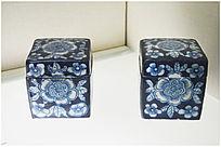 青花方形瓷砚盒