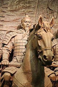 石雕战国骑马的将军雕像