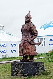 手持蒙古刀的蒙古族士兵