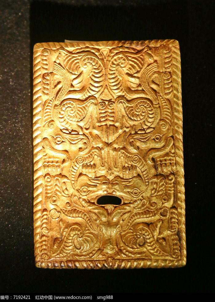 西周时期方形兽纹金饰件图片