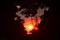 黄昏的红太阳日落风景图片