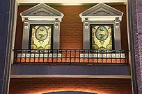 欧式窗户灯光墙背景