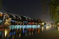 乌镇西栅夜景民宿市河倒影美景