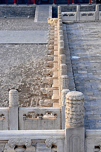北京故宫石栏杆与石龙头