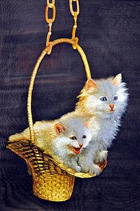 苏绣 花篮白猫