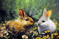 苏绣 两只兔子