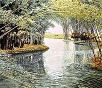 湘绣 竹林溪水