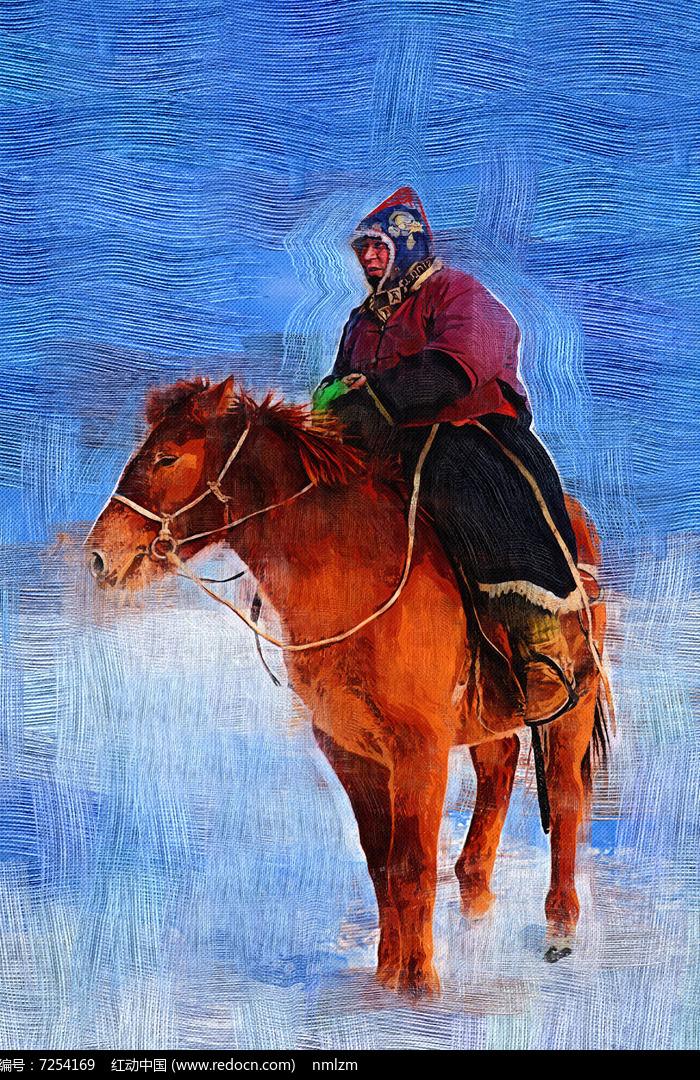 电脑油画《牧人骑马雪景》