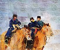 电脑油画《骑马的蒙古族少年》