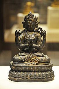 鎏金铜四臂观音菩萨坐像