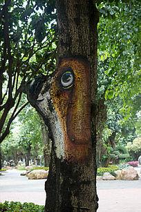 树干卡通狗绘画