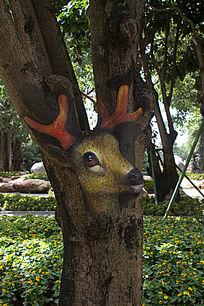 树干卡通鹿绘画