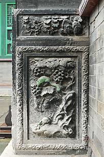 葡萄松鼠石雕图案