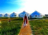 电脑画《草原蒙古包风景》