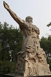 石雕神农伏羲龙图腾团结一统雕像