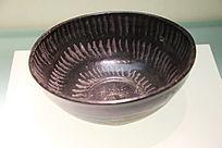 元代黑釉银条纹碗