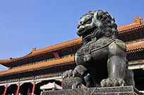 北京故宫太和门前的石狮子
