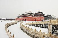 北京故宫午门雪景