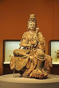 彩绘木雕观音菩萨坐像