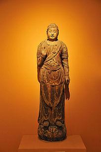 彩绘木雕菩萨立像
