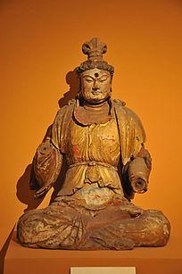 彩绘木雕菩萨坐像