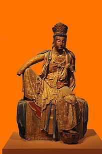 彩绘漆金木雕菩萨坐像