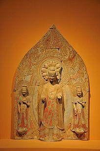 彩绘贴金石雕佛菩萨三尊立像