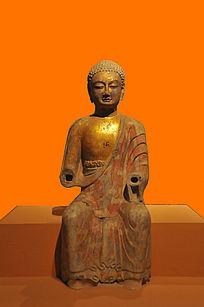 彩绘贴金石雕佛坐像