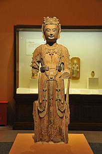彩绘贴金石雕菩萨立像