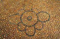 石子铺砌的花纹图案背景素材