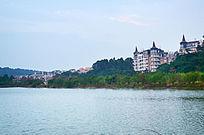 乡村村庄山水风景图片