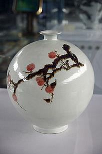 白瓷老树纹壶