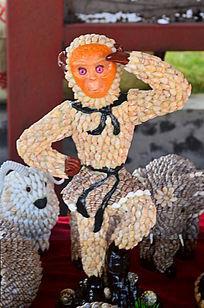 贝壳猴子工艺装饰品