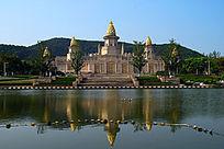灵山大佛梵宫全景水面倒影