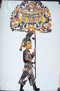 打伞古代剪纸