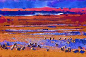 电脑画《雪原羊群》