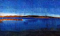 电脑油画《蓝色湖泊》